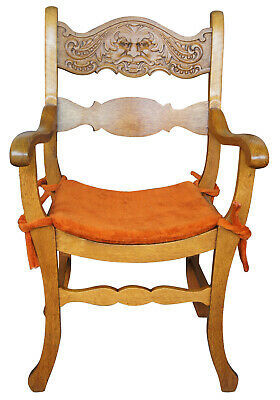 Late Victorian Figural Northwind Face Saddle Seat Curule Arm Chair Oak Mustache