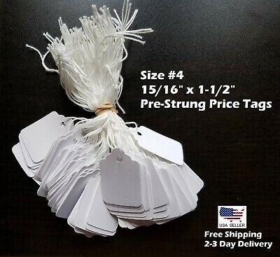 Size #4 Small Blank White Merchandise Price Tags w/ String Retail Jewelry Strung