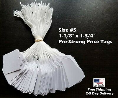 Size #5 Small Blank White Merchandise Price Tags w/ String Retail Jewelry Strung