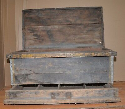Antique metal sign topped primitive chest hidden drawer collectible Sea Tool box