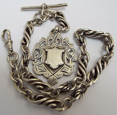 Stunning Rare English Antique 1900 Solid Sterling Silver Fancy Link Albert Chain