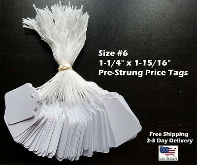 Size #6 Small Blank White Merchandise Price Tags w/ String Retail Jewelry Strung