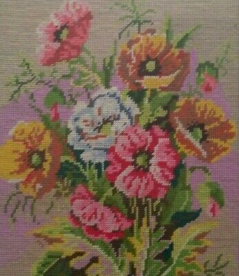 Embroidery Tapestry Wool Work Needlepoint Victorian colorful poppies