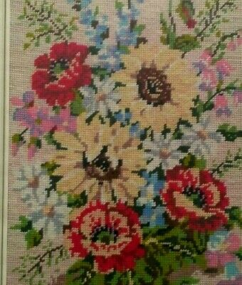 Vintage Embroidery Tapestry Wool Work Needlepoint Victorian Summer Flowers