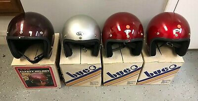 4 Vintage ALL SPORT BUCO Motorcycle Helmets Candy Burgundy Silver Candy Red NIB
