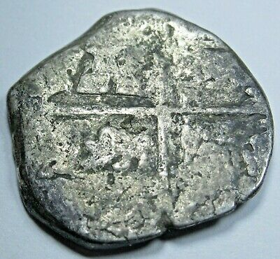1600's Spanish Silver 1 Reales Piece of 8 Real Antique Pirate Treasure Cob Coin