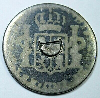 1700's Spanish Mexico Silver 1 Reales D Counterstamp Countermark Antique Coin