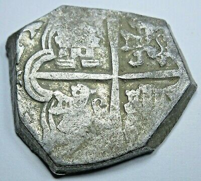 1600's Spanish Silver 4 Reales Sevilla R Assayer Real Colonial Pirate Cob Coin