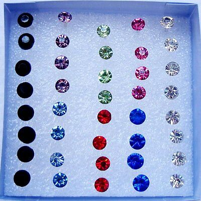 20Pairs 5mm Womens Girls Crystal Rhinestone Stud Earrings Jewellery Gift