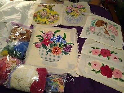 Lot of 5 large Hand Painted Needlepoint Canvas + yarn some started