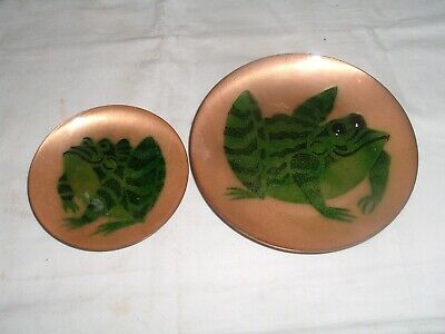 SEt 2 Annemarie Davidson Enamel on Copper Frog Mid Century Plates 6 & 4 Inches