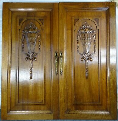 Pair Antique French Solid Walnut Carved Wood Door/Panel Art Deco Salvage