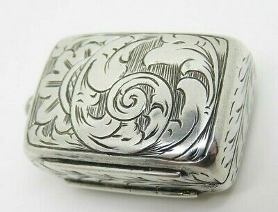 Antique VICTORIAN SILVER VINAIGRETTE Hallmarked Birm 1856 George Unite & Sons