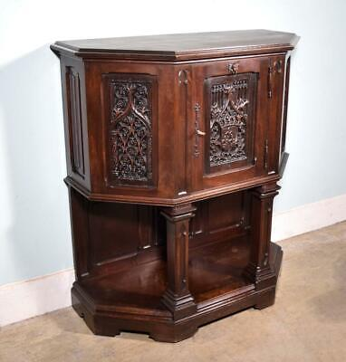 *Antique French Gothic Revival Console/Sideboard/TV Stand in Walnut Wood