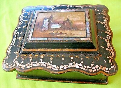 Antique Victorian Papier Mache & Mother of Pearl inlaid trinket jewellery box