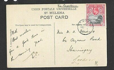 """St Helena - 1903 EVII 1d SG 56 on 1906 """"Jacobs Ladder"""" post card to London"""