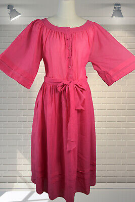 Adorable Vintage 1980s Hot Pink Full Skirted Party Dress - Size Large