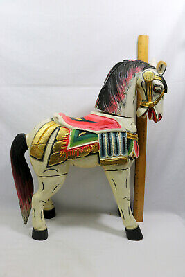 Folk Art Hand Carved Wood Carousel Merry-Go-Round-Standing Horse Carnival ID#804