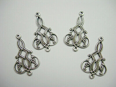 Antiqued Silver Plated Victorian Filigree Drops Dangles Findings  4