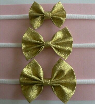Nylon Newborn/Baby/Toddler/Girl Headband With Assorted Size Metallic Gold Bow