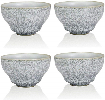 The Exotic Teapot - White Ru Ceramic Cup Set, 4 Crackle Glaze Porcelain Tea Cups