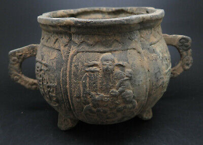 Ancient Bronze Pot / Container Carved Figures
