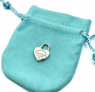 Please Return To Tiffany & Co. Sterling Silver Heart Padlock Charm Tag Pendant