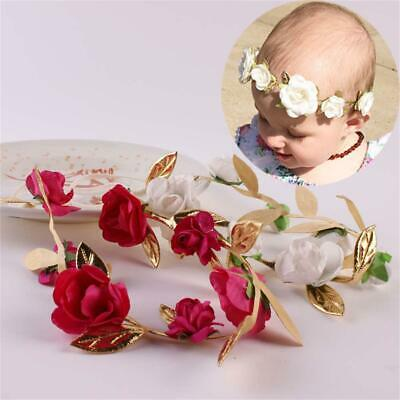 Boy Girl Crown Floral Rose Flower Wreath Hair Band Gold Leaves Baby Garlands