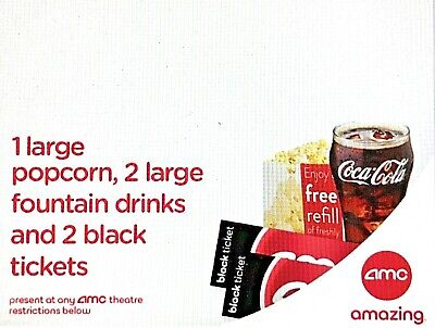 2 AMC Movie Tickets - 2 Large Drinks - 1 Large Popcorn - eDelivery