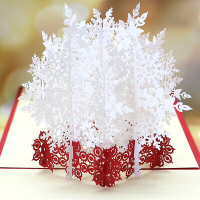 5PC Christmas White Snow 3d Stereo Greeting Card Handmade Blessing Greeting Card