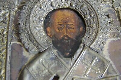 old antique russian icon of a saint, oklad, no reserve