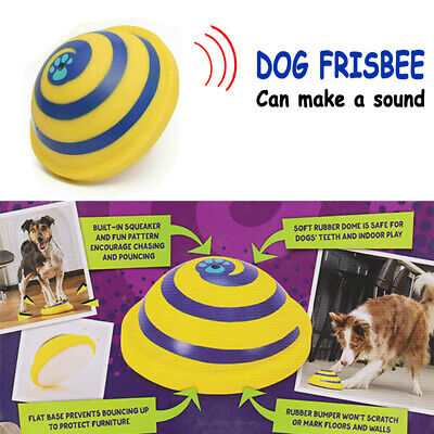 Woof Glider Squeaky Dog Toy Sounding Disc Safe Fun Play All Dog Training