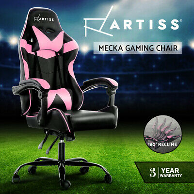 Artiss Gaming Office Chair Computer Chairs Leather Seat Racing Recliner Pink