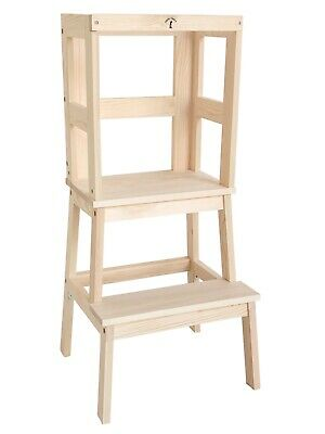 Safe Learning Tower - Little Risers - Toddler Tower. Varnished Pine