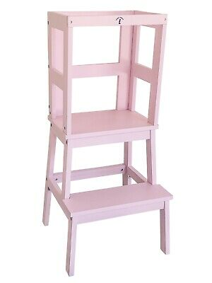 Safe Learning Tower - Little Risers - Kitchen Helper - Toddler Tower. Pink