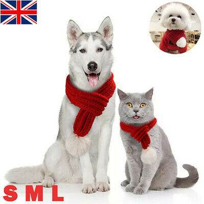 UK Christmas Knitted Dog Scarf Collar Winter Cats Dog Scarfs For Small Large Pet