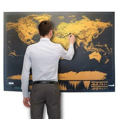 82X59 Scratch Off World Map Deluxe Edition Travel Log Journal Poster Wall Decor