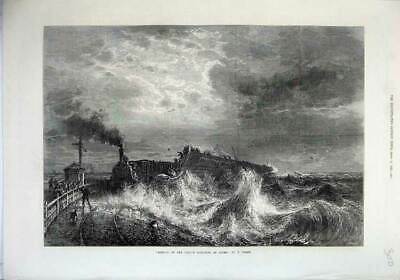 Old Antique Print 1871 Fine Art Arrival French Mail Boat Train Dover Sea 19th