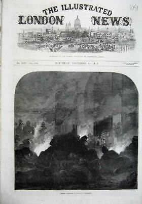 Old Antique Print 1870 Fine Art French Prisoners Orleans Cathedral Fire 19th