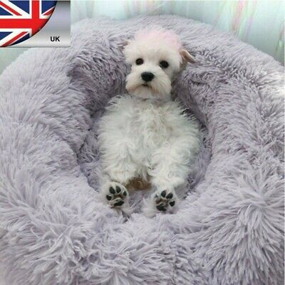 UK Comfy Calming Dog/Cat Bed Super Soft Plush Pet Round Bed Marshmallow Cat Bed