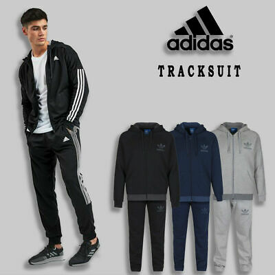Mens Adidas Tracksuit Original Bottom Hoodie Zipper Trackpants 3 Stripes Trefoil