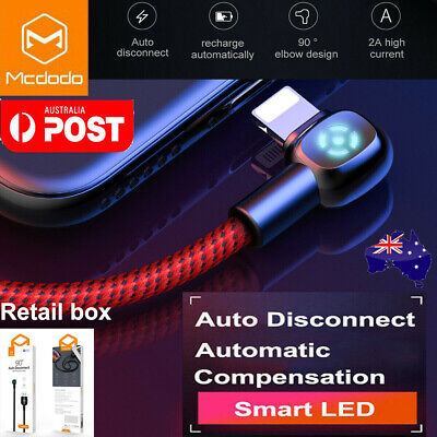 MCDODO 90 Degree Elbow Lightning Cable Charging Cord iPhone 11 Pro Max 8 Plus XR