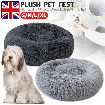 Pet Dog Cat Calming Bed Warm Plush Round Nest Comfy Sleeping Cave Lodge Kennel