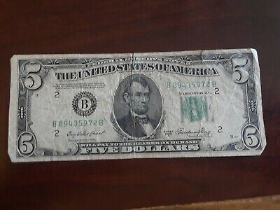 1950 A  $5 Bill US Currency Paper Money