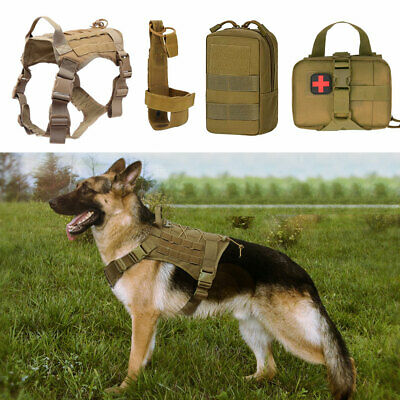 Tactical Dog Harness Molle K9 Training Service Patrol Coat Clothes with 3 Pouch
