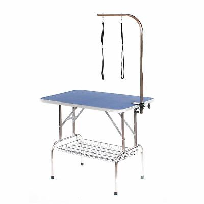 Stainless steel dog grooming table large portable mobile blue by Pedigroom