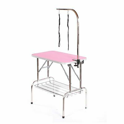 Stainless steel dog grooming table large portable mobile pet pink by Pedigroom
