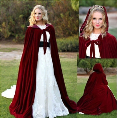 New Christmas Cape Cosplay Costume Hooded Cloak Robe Medieval Witch Adult Kid AU