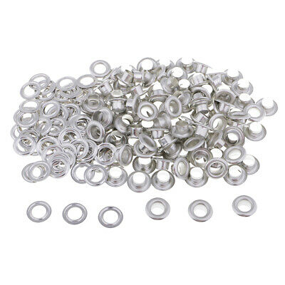 100 Sets Metal Grommets Eyelets with Washers Silver/Black for Leather Crafts