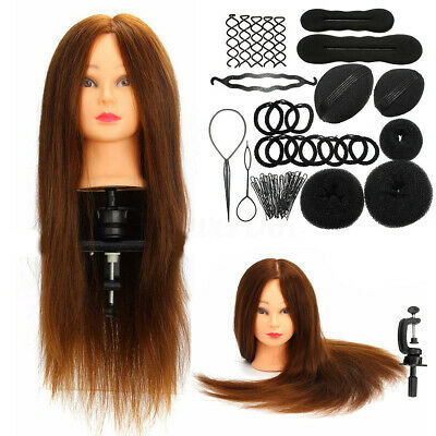 24'' 100% Real Hair Hairdressing Training Mannequin Practice Head + Braid